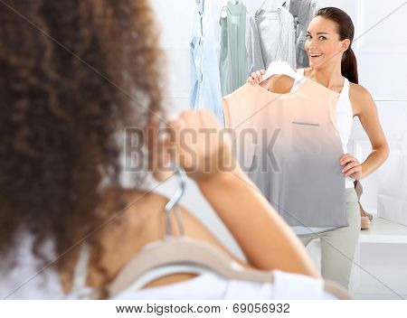 Hunting for bargains, women shopping