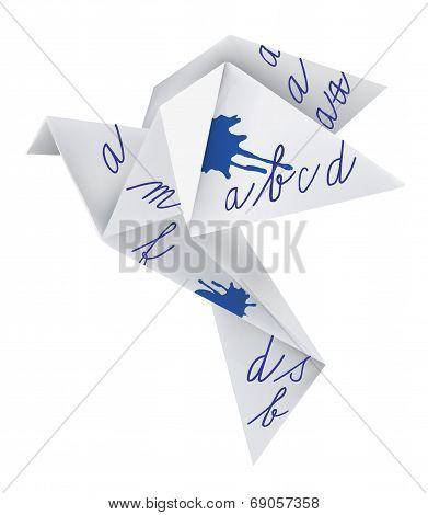Origami pigeon with school alphabet