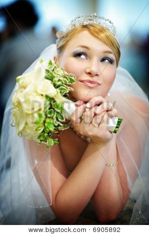 Beautiful Bride In Wedding Dress