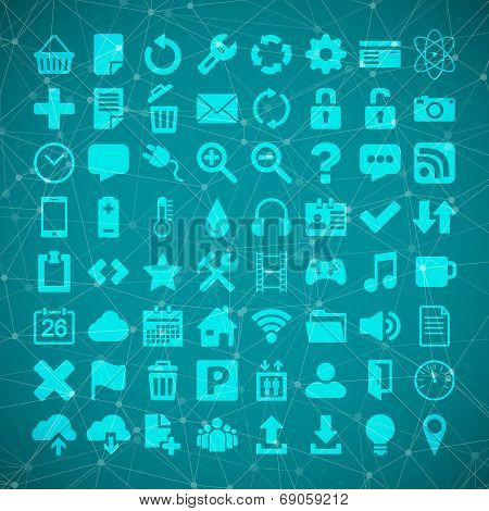 64 Universal Flat Vector Icon Set For Web Desighers, Ui, Sites, Mobile Etc.