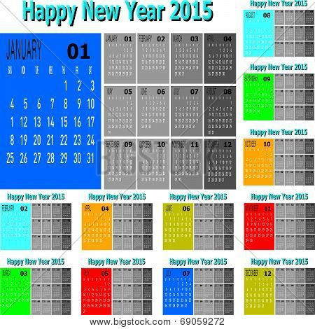 Set Of Happy New Year 2015 Vector