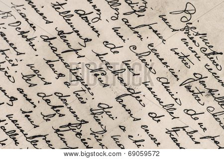 Old Letter With Handwritten French Text