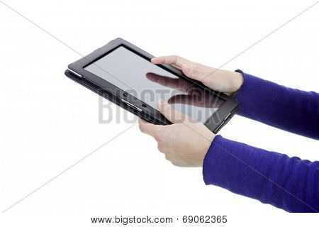 Woman holding a digital tablet, isoated, detail