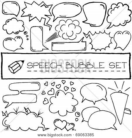 Hand drawn speech bubbles with hearts and clouds.