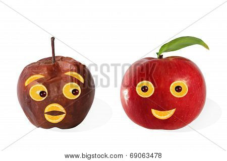 Creative Food. Positive And Negative Portraits Made from Apples.