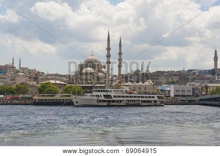 Large Mosque Next To River In City