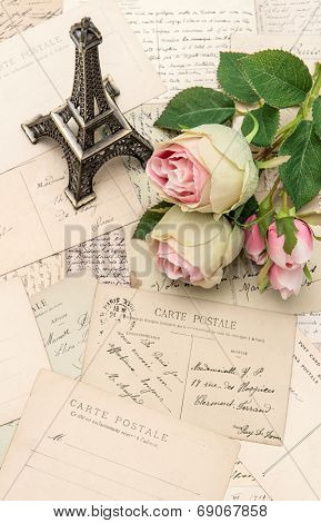 Roses, Antique French Postcards And Souvenir