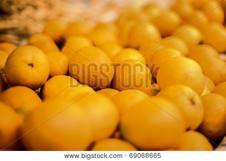 Bunch Of Oranges At A Market