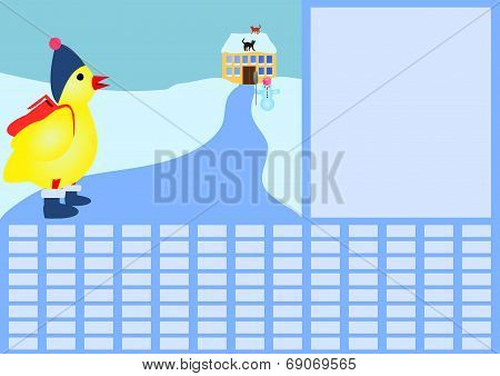 School timetable with chicken in winter
