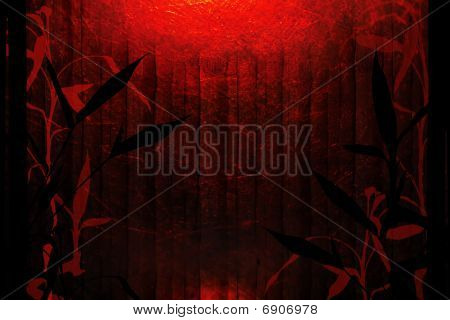 Bamboo Tree Red Background