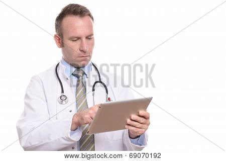 Male Doctor Consulting A Tablet Computer