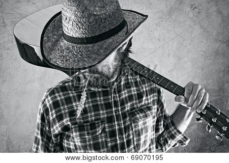 Western Country Cowboy Musician With Guitar
