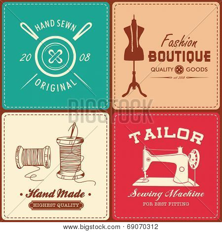 Collection of vintage sewing and tailor design element