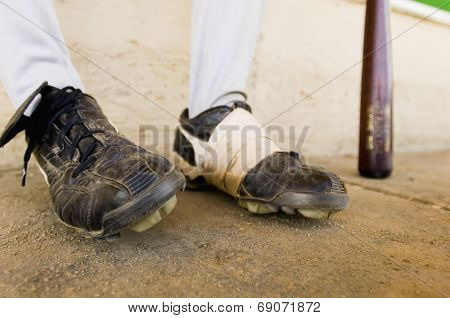 Close-up of Baseball Player's Feet