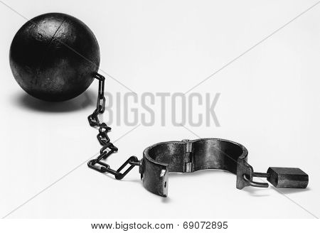 Ball and chain (b&w)