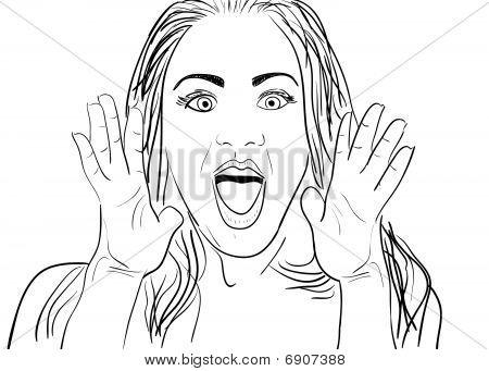 Shouting Woman Drawing