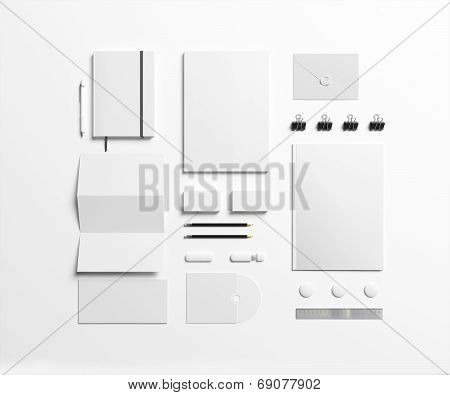 Blank Stationery Set Isolated On White