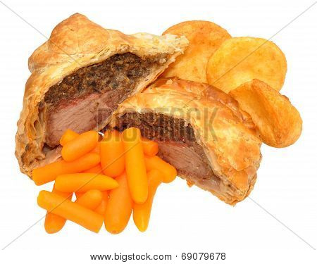 Beef Wellington With Roasted Potatoes And Carrots