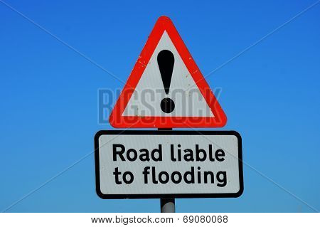 Road liable to flooding sign