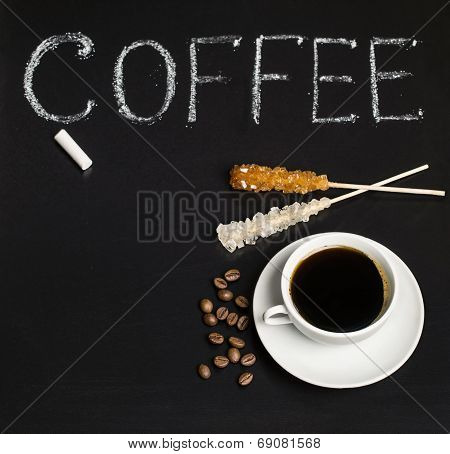 Slate With Inscription And Coffee