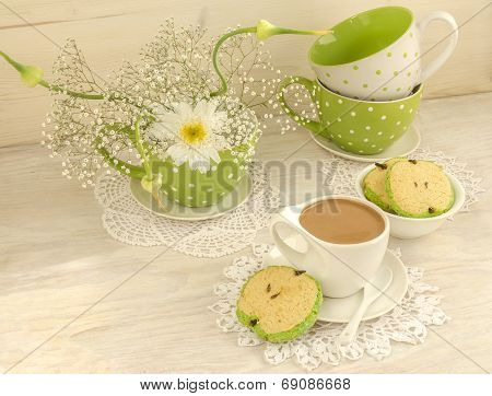 Bouquet Of White Flowers, Cup Cocoa With Milk And Apple Shaped Cookies