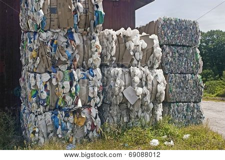Bales Of Plastic Bottles For Recycle