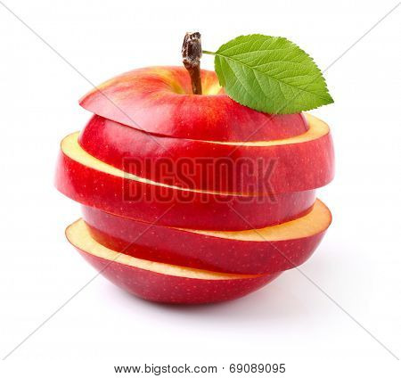 Slices apple with leaf