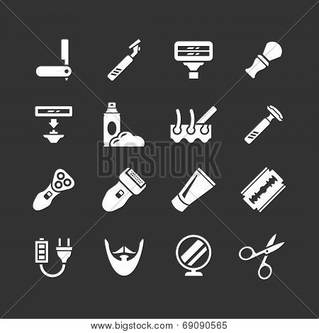 Set Icons Of Shave, Barber Equipment And Accessories