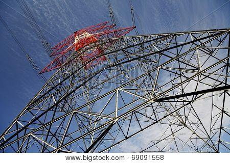 Electricity pylon low angle view