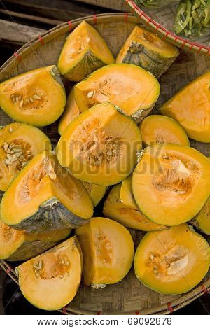 Quartered Raw Squash