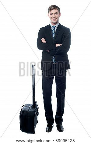 Young Business Man With Trolley Bag