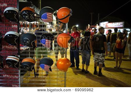 FARO - JULY 17: Accessories stand showing some custom helmets at the XXXIII - International Motorcycle Meeting in Faro, Portugal, July 17, 2014