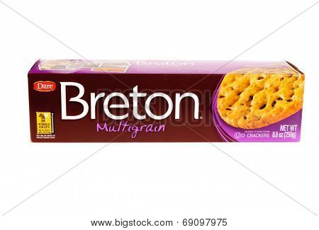Hayward, CA - July 24, 2014: 250g packet of Dare brand Breton multigrain crackers