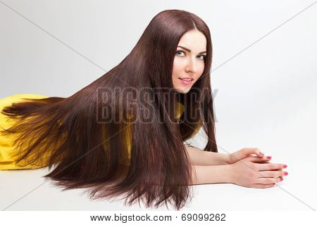 Beautiful Woman with long thick hair
