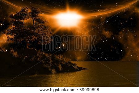 3D background with island in sea against a moonlit sky