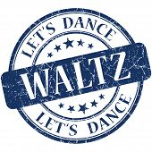 image of waltzing  - Waltz blue vintage grungy isolated round stamp - JPG