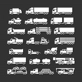 stock photo of lift truck  - Set icons of trucks trailers and vehicles isolated on black - JPG