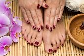 pic of wet feet  - Pedicure and manicure in the salon spa - JPG