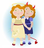 pic of gemini  - 2 cartoon girls  - JPG