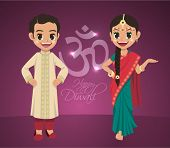 stock photo of sherwani  - Vector Indian Boy and Girl Celebrating Deepavali  - JPG