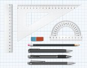 stock photo of mechanical drawing  - Vector constructor drawing equipment supply illustration on millimetre grid paper - JPG