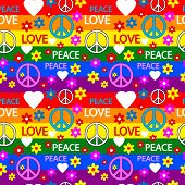 stock photo of hippy  - Seamless pattern with symbols of the hippie - JPG