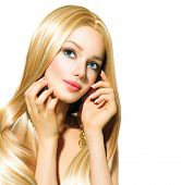 foto of hair streaks  - Beautiful Blond Girl isolated on a White Background - JPG