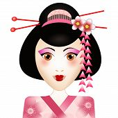 stock photo of geisha  - An illustration of a Geisha portrait on white background - JPG