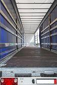 foto of semi trailer  - Interior view of empty semi truck lorry - JPG