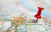 stock photo of usa map  - Closeup of Orlando Florida map and red tack - JPG
