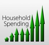 stock photo of macroeconomics  - Graph illustration showing Household Spending growth - JPG
