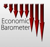 image of macroeconomics  - Graph illustration showing Economic Barometer decline - JPG