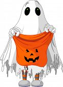 stock photo of ghoul  - Child  in ghost costume trick or treating - JPG