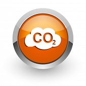 stock photo of carbon-dioxide  - carbon dioxide orange glossy web icon - JPG